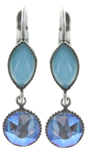 earring eurowire dangling Dance with Navette light blue antique silver