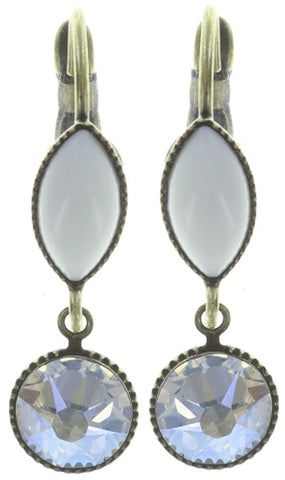 earring eurowire dangling Dance with Navette white antique brass