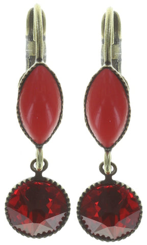 earring eurowire dangling Dance with Navette red antique brass