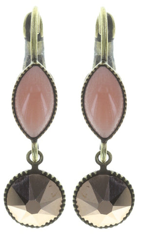 earring eurowire dangling Dance with Navette beige antique brass