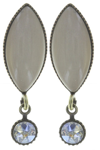 earring stud dangling Dance with Navette white antique brass