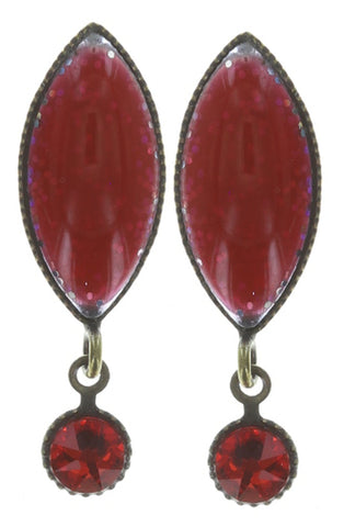 earring stud dangling Dance with Navette red antique brass