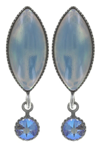 earring stud dangling Dance with Navette light blue antique silver