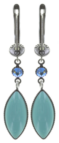 earring dangling Dance with Navette light blue antique silver