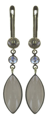 earring dangling Dance with Navette white antique brass