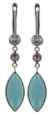 earring dangling Dance with Navette pastel multi antique silver