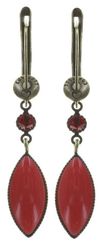 earring dangling Dance with Navette red antique brass