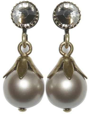 earring stud dangling Pearl Shadow white Very Light Antique Brass