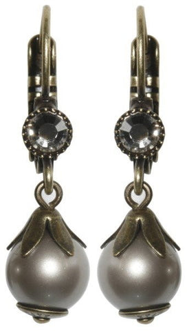 earring eurowire dangling Pearl Shadow white Very Light Antique Brass