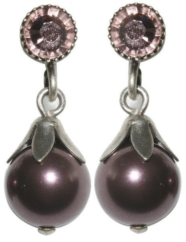 earring stud dangling Pearl Shadow pink Very Light Antique Silver