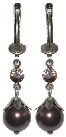 earring dangling Pearl Shadow pink Very Light Antique Silver