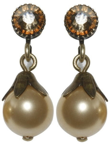 earring stud dangling Pearl Shadow brown Very Light Antique Brass