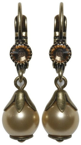 earring eurowire dangling Pearl Shadow brown Very Light Antique Brass