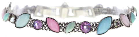 bracelet Dance with Navette pastel multi antique silver