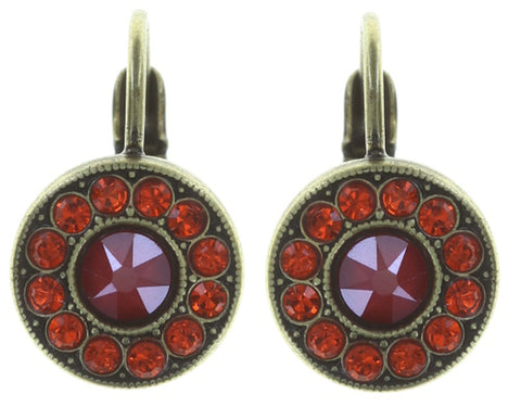 earring eurowire Spell on You red/orange antique brass
