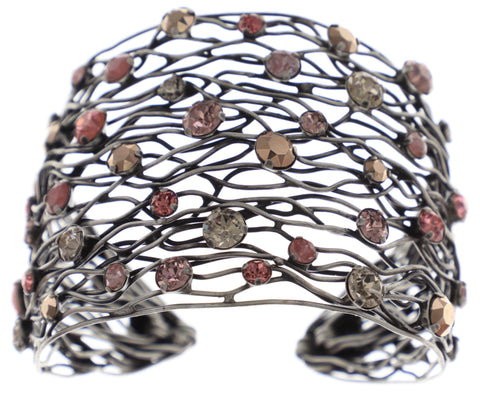 bracelet bangle Cages beige/pink antique silver size XL