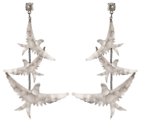 earring stud dangling The Sparrow silver antique silver size M,S