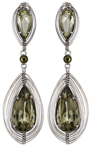 earring stud clip dangling Amazonia green antique silver size L,S