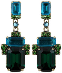 earring stud dangling Empire States Incas blue/green antique brass