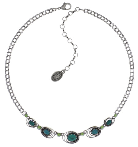 necklace Boho Twist green antique silver