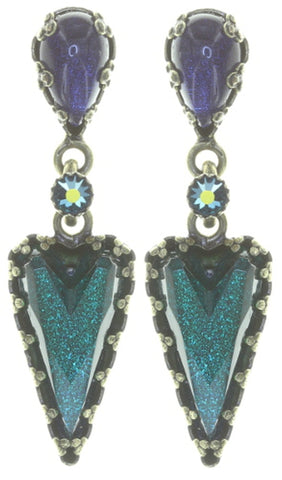 earring stud dangling Snow White blue/green antique brass size S