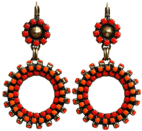 earring eurowire dangling Africanica red/orange antique brass