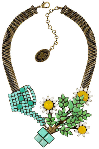 necklace Sunflower yellow/white/green antique brass size XL,L,M