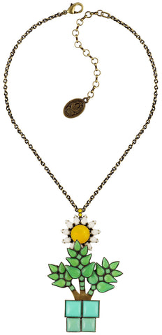 necklace pendant Sunflower yellow/white/green antique brass size L