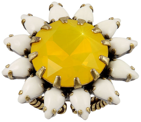 ring Sunflower yellow/white antique brass size XL