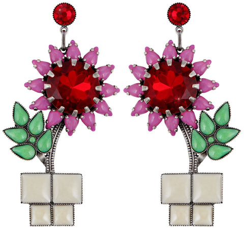 earring stud dangling Sunflower pink/green antique silver size XL