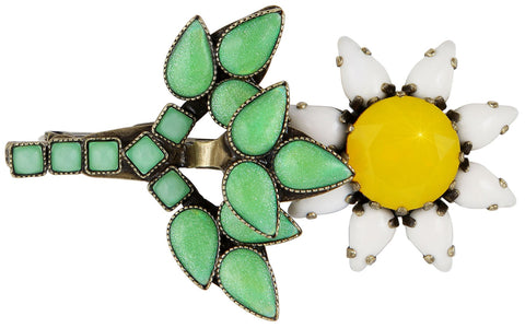 brooch Sunflower yellow/white/green antique brass size M