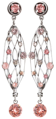 earring stud dangling Cages beige/pink antique silver