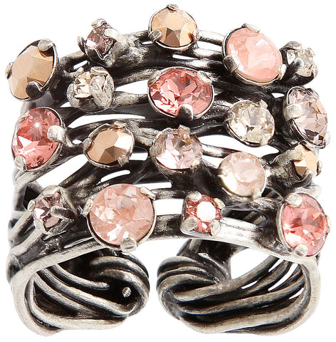 ring Cages beige/pink antique silver size M