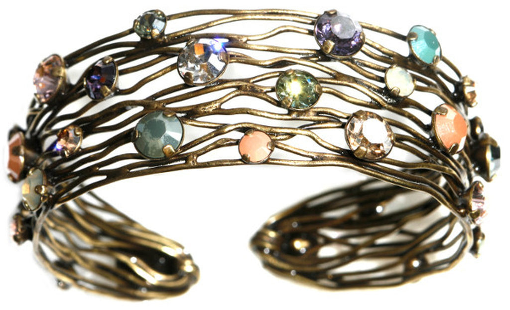 bracelet bangle Cages pastel multi antique brass