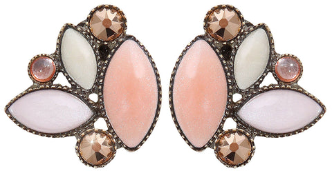 earring stud Dance with Navette beige antique brass