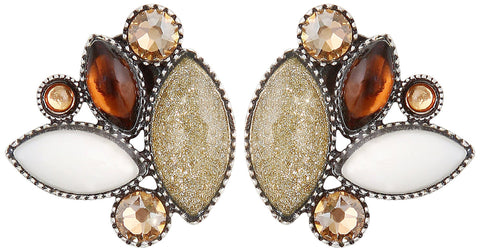 earring stud Dance with Navette brown antique silver