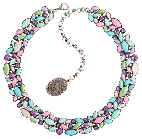 necklace Dance with Navette pastel multi antique silver