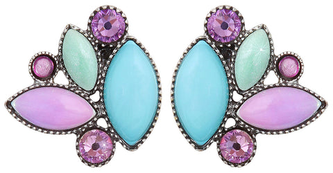 earring stud Dance with Navette pastel multi antique silver