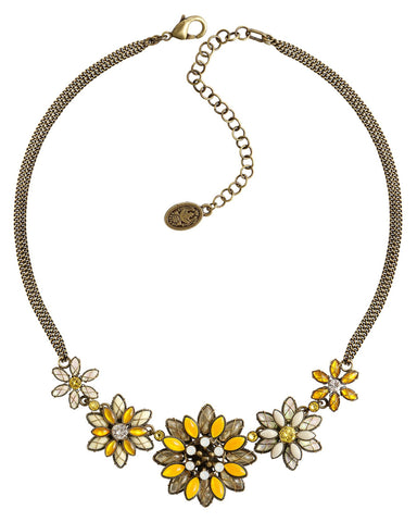 necklace Psychodahlia yellow antique brass size L,S,XS