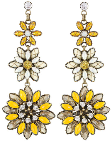 earring stud dangling Psychodahlia yellow antique brass size L,S,XS