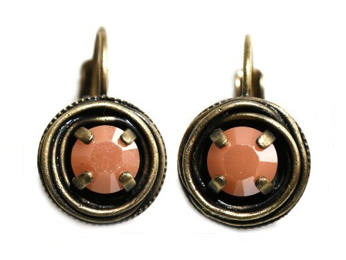 earring eurowire Cages pastel multi antique brass