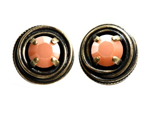 earring stud Cages pastel multi antique brass