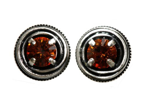 earring stud Cages brown antique silver