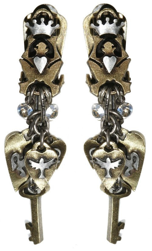 earring clip dangling Rough Kingdom grey antique silver/antique brass