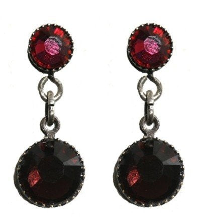 earring stud dangling Waterfalls red antique silver