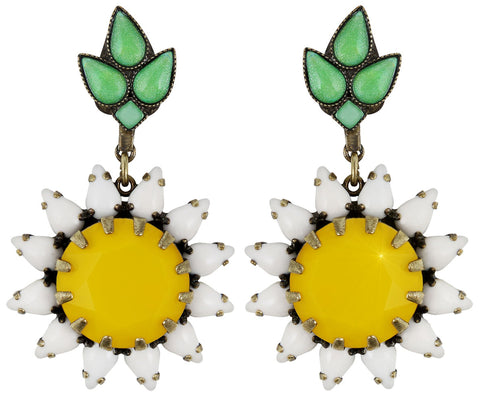 earring stud dangling Sunflower yellow/white/green antique brass size XL