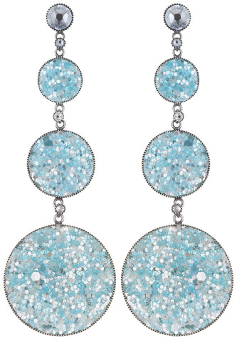 earring stud dangling Studio 54 light blue antique silver size L,S,XS