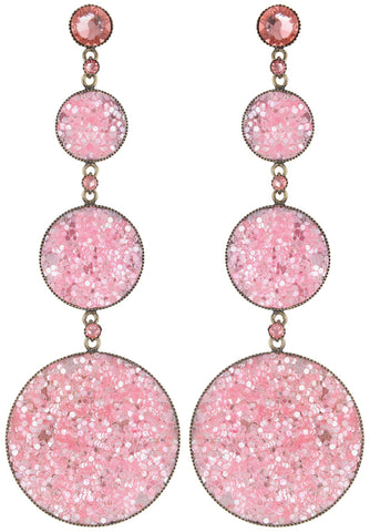 earring stud dangling Studio 54 pink antique brass size L,S,XS