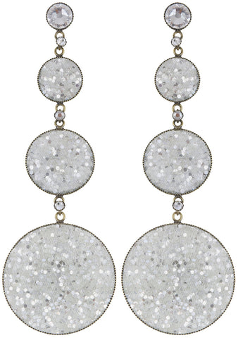 earring stud dangling Studio 54 white antique brass size L,S,XS