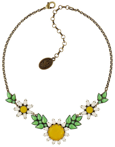 necklace Sunflower yellow/white/green antique brass size XL